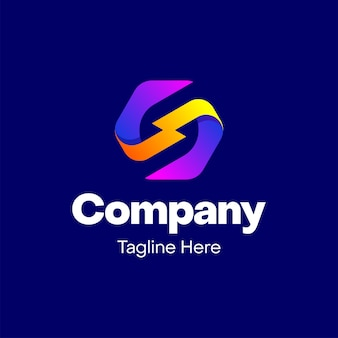 Buchstabe s mit blitz-logo-design