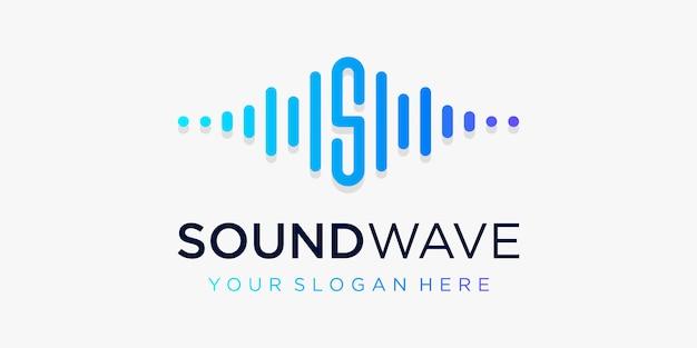 Buchstabe s mit puls. schallwellenelement. logo-vorlage elektronische musik, equalizer, laden, dj-musik, nachtclub, disco. audio-wellen-logo-konzept, thematische multimedia-technologie, abstrakte form.