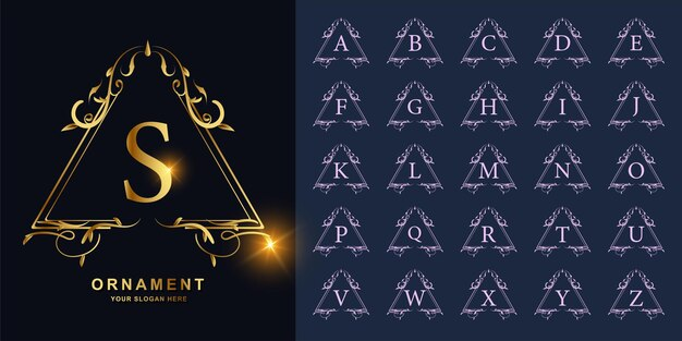 Buchstabe s oder sammlungsanfangsalphabet mit goldener logoschablone des luxuriösen ornamentblumenrahmens