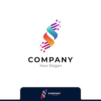 Buchstabe s pixeltechnologie-logo