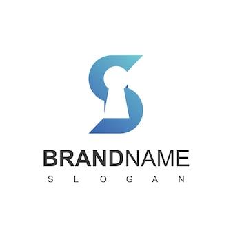 Buchstabe s, sichere logo-vorlage mit schlüsselloch-symbol