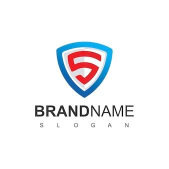 Buchstabe s sicheres logo mit schildsymbol