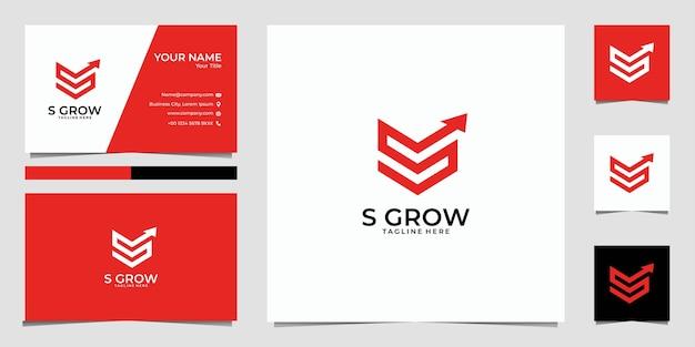 Buchstabe s wächst mit pfeil-logo und visitenkarte