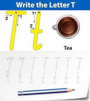 Buchstabe t, der alphabet-arbeitsblätter verfolgt