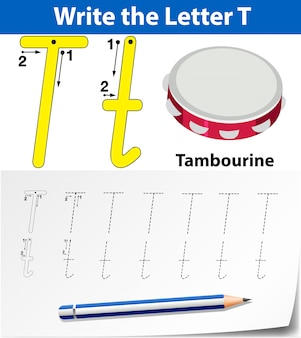 Buchstabe t, der arbeitsblätter für alphabet nachzeichnet