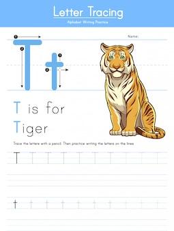 Buchstabe t, der tieralphabet t für tiger verfolgt