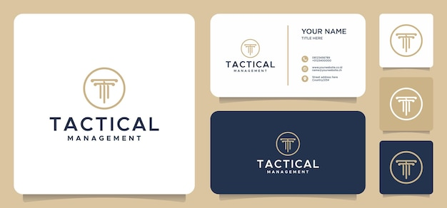 Buchstabe t gesetz logo designs mit visitenkarte