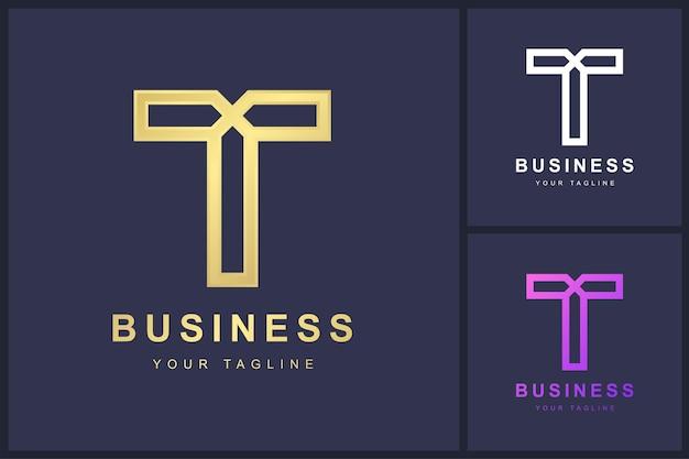 Buchstabe t-logo mit verdrehtem linienkonzept