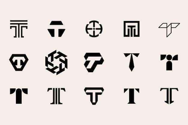 Buchstabe t logo-vorlagensatz