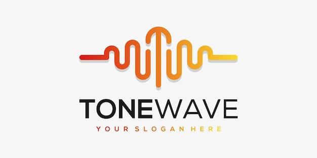 Buchstabe t mit puls. musik-player-element. logo-vorlage