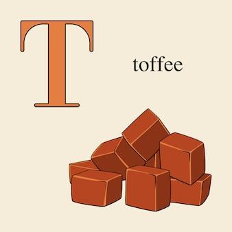 Buchstabe t mit toffee. illustriertes englisches alphabet mit bonbons.