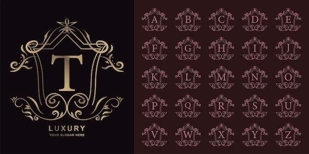 Buchstabe t oder sammlungsanfangsalphabet mit goldener logoschablone des luxusverzierungsblumenrahmens.