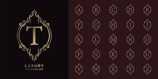 Buchstabe t oder sammlungsinitialalphabet mit goldener logoschablone des luxusornamentblumenrahmens.