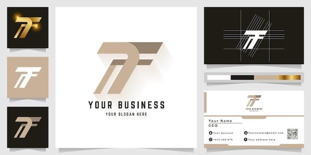 Buchstabe t oder tf monogramm logo mit visitenkartendesign