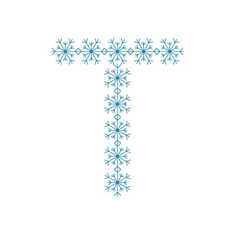 Buchstabe t von schneeflocken. festliche schrift oder dekoration für neujahr und weihnachten