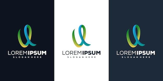 Buchstabe u farbverlauf logo-design