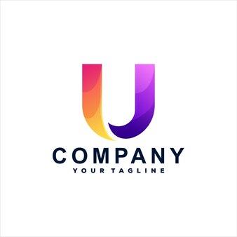 Buchstabe u farbverlauf logo vorlage