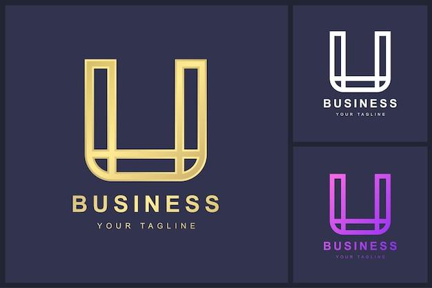 Buchstabe u-logo mit umrisskonzept