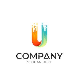 Buchstabe u logo mit zeitraffer