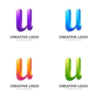 Buchstabe u-logoentwurf mit buntem stil