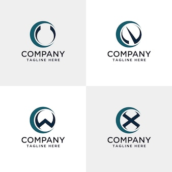 Buchstabe uvw und x modernes logo im kreis
