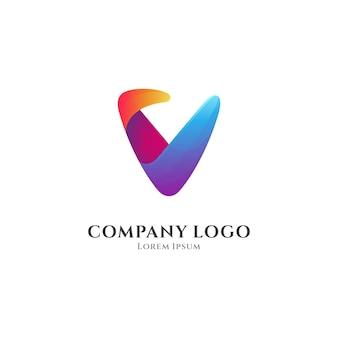 Buchstabe v bunte farbverlauf-logo-vorlage