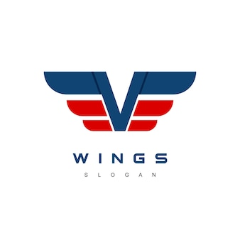 Buchstabe v flügel logo-design-vorlage