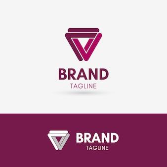 Buchstabe v linie logo