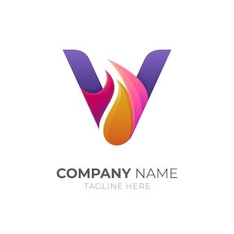 Buchstabe v logo mit feuer