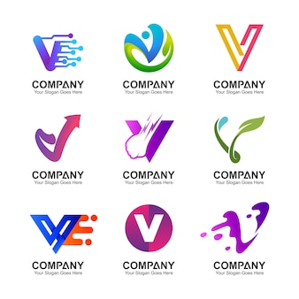Buchstabe v logo set