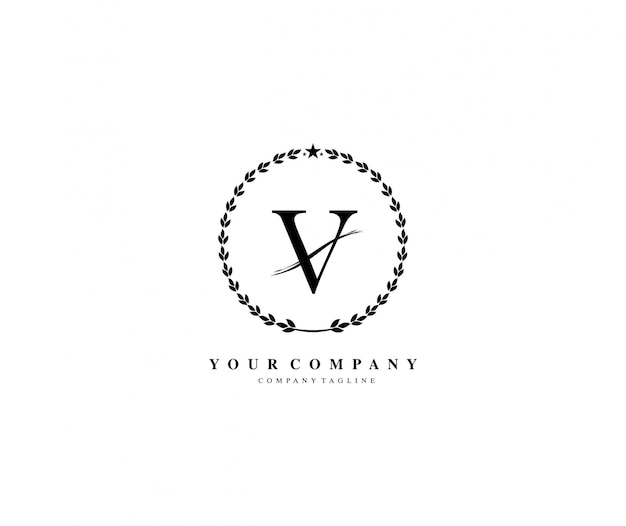 Buchstabe v lorbeerkranz-vektor-logo