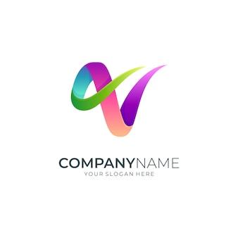 Buchstabe v luxus-farbverlauf-logo
