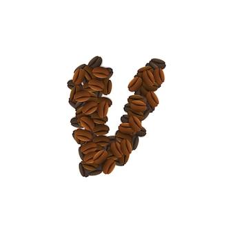 Buchstabe v von kaffeekörnern