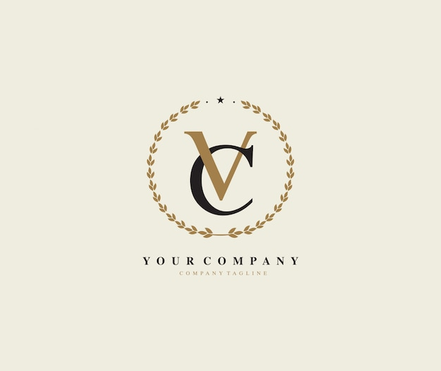 Buchstabe vc lorbeerkranz-vektor-logo