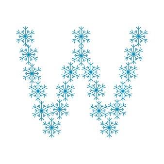 Buchstabe w aus schneeflocken. festliche schrift oder dekoration für neujahr und weihnachten