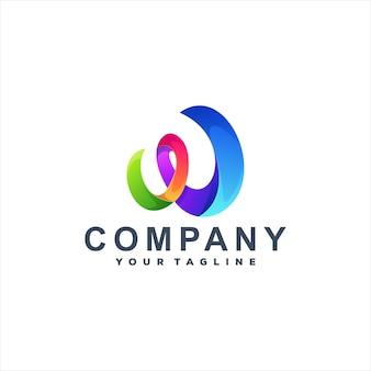 Buchstabe w farbe logo-design