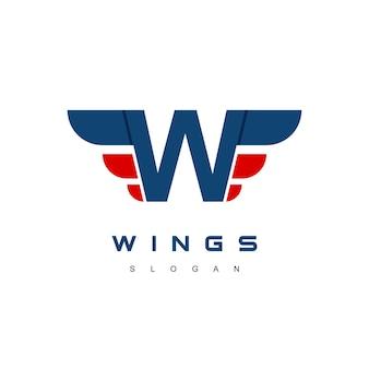 Buchstabe w flügel logo-design-vorlage