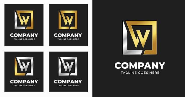 Buchstabe w logo-design-vorlage mit quadratischem formstil