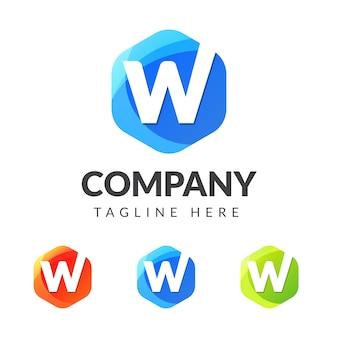 Buchstabe w logo mit buntem geometriedesign
