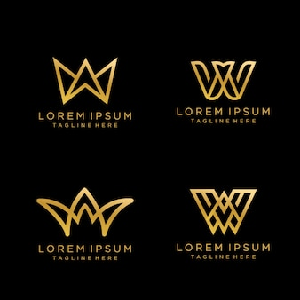 Buchstabe-w-luxus-monogramm logo design mit goldfarbe.
