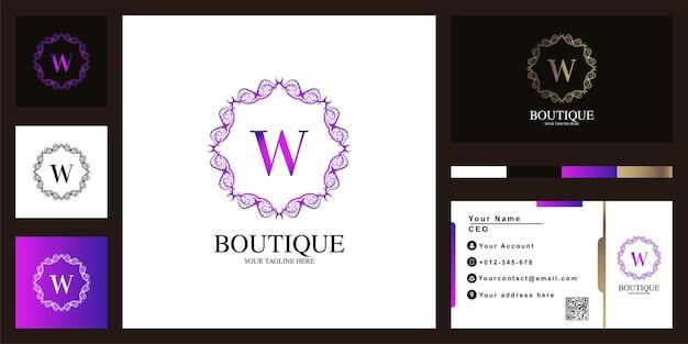 Buchstabe w luxus ornament blumenrahmen logo template design mit visitenkarte.