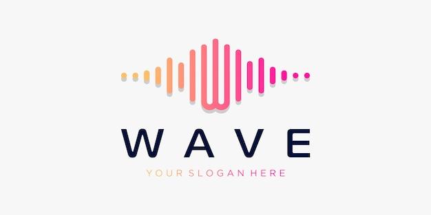 Buchstabe w mit puls. wellenelement. logo-vorlage elektronische musik, equalizer, laden, dj-musik, nachtclub, disco. audio-wellen-logo-konzept, thematische multimedia-technologie, abstrakte form.