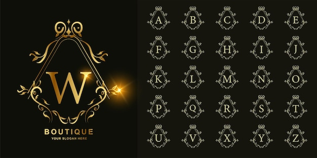 Buchstabe w oder sammlungsanfangsalphabet mit goldener logoschablone des luxuriösen ornamentblumenrahmens.