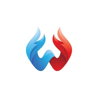 Buchstabe w und flügelfeder-logo