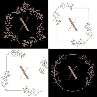 Buchstabe x logoentwurf mit orchideenblattelement