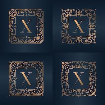 Buchstabe x mit blumenrahmen der luxusverzierung