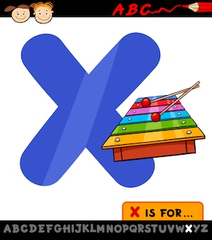 Buchstabe x mit xylophonkarikaturillustration