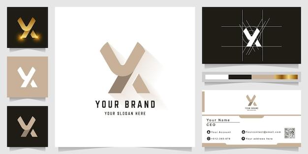 Buchstabe x oder yx monogramm-logo mit visitenkarten-design