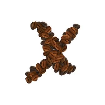 Buchstabe x von kaffeekörnern