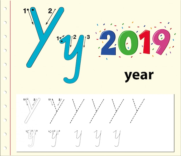 Buchstabe y, der arbeitsblätter für alphabet verfolgt